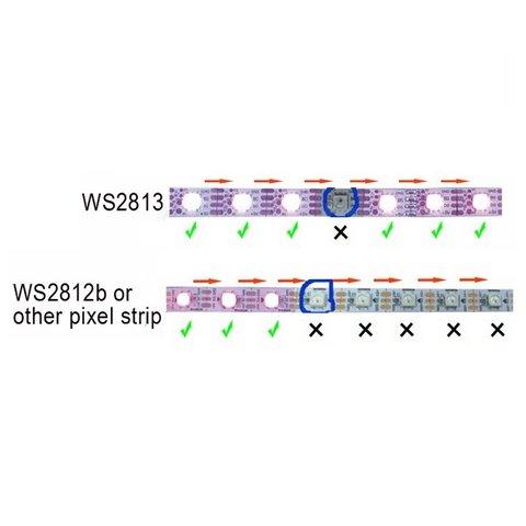 Світлодіодна стрічка RGB SMD5050, WS2813 (чорна, з управлінням, IP67, 5 В, 60 діодів/м, 1 м) Прев'ю 2