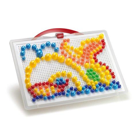 Набор для занятий мозаикой Quercetti (фишки 10/15/20 мм (280 шт.) + доска 22×16) Превью 1